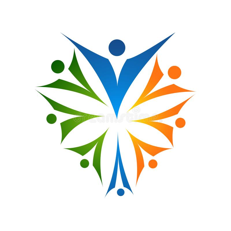 Logo et symboles d'amour de soin de famille illustration libre de droits