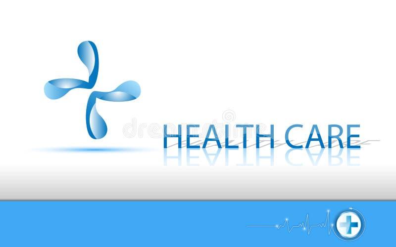 Logo et texte de soins de santé de fond de vecteur illustration stock