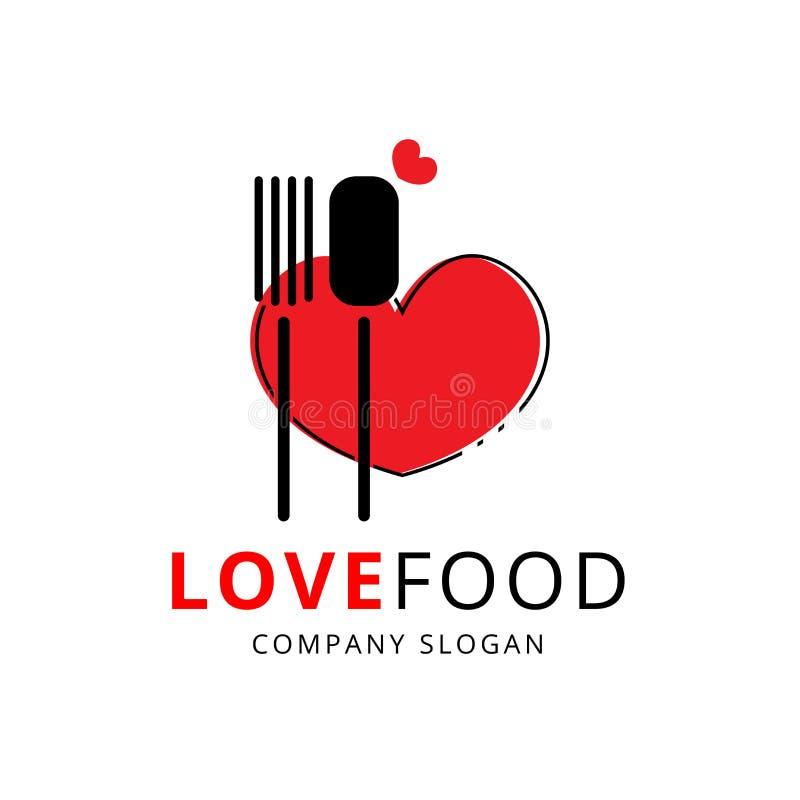 Logo et vecteur de nourriture d'amour illustration libre de droits