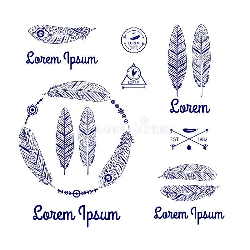 Logo ethnique de plumes illustration stock