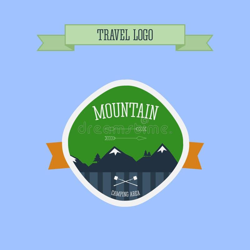 Logo, etichetta e distintivo di campeggio della montagna Emblema di viaggio illustrazione vettoriale