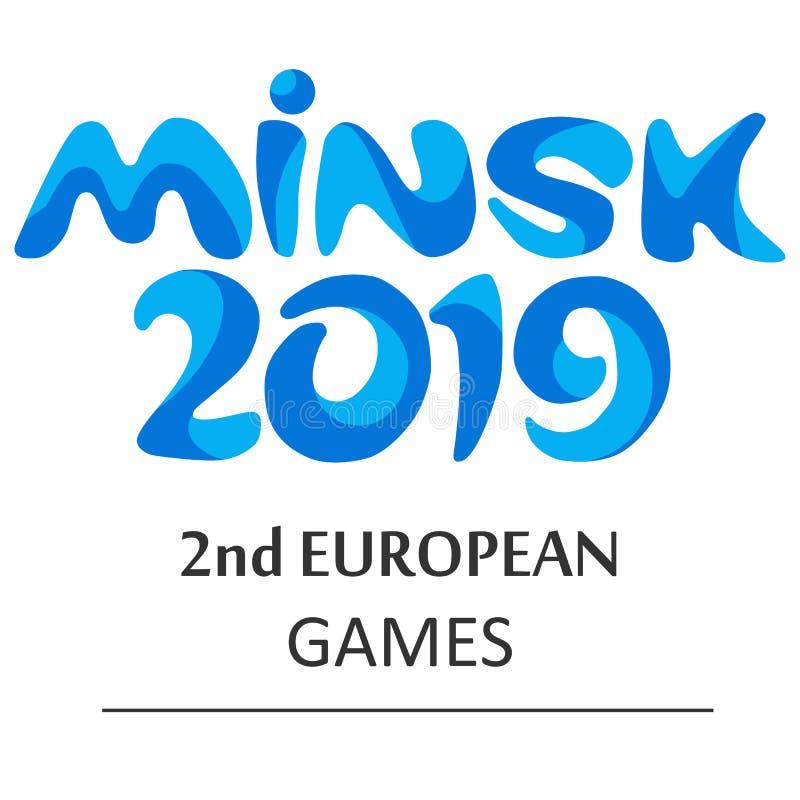 Logo of the European games in Minsk 2019. stock illustration