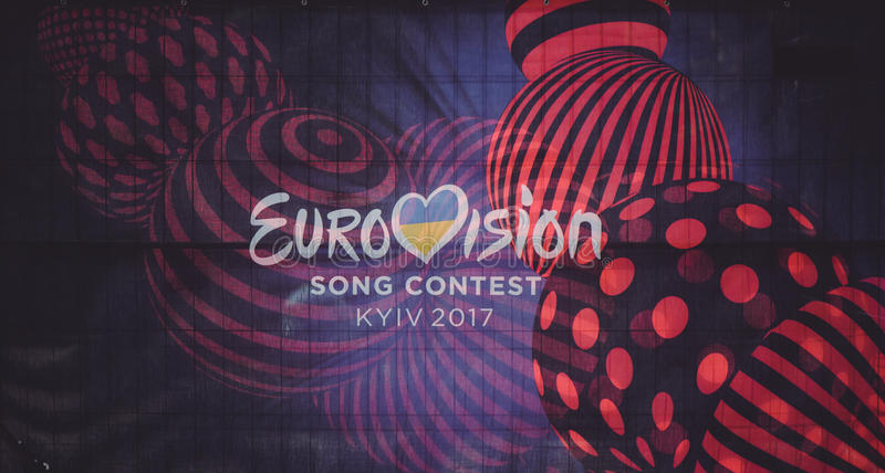Logo of the Eurovision song contest 2017 Ukraine. KYIV, UKRAINE - MAY , 2017: logo of the Eurovision song contest 2017 Ukraine printed on the banner royalty free stock images