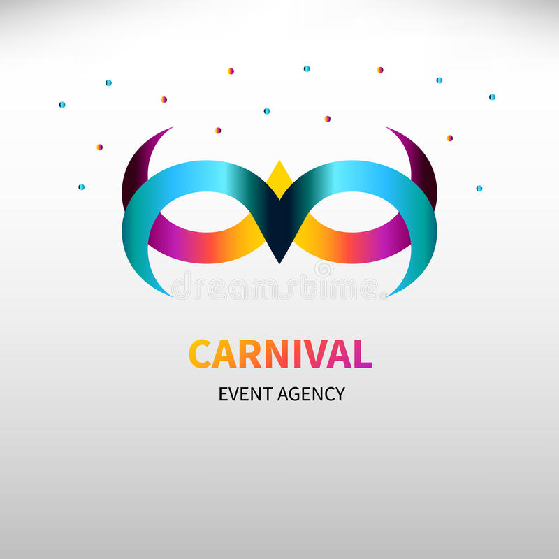 Logo event agency. Carnival gradient mask with confetti . Logo event agency. Icon card for masquerade. Vector illustration royalty free illustration