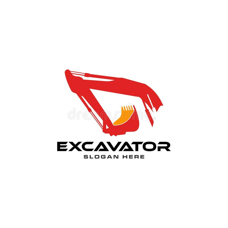 Excavator logo. Logo excavator for real estate company, construction and building stock illustration