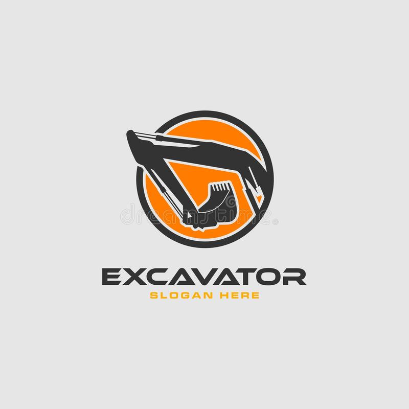 Excavator logo. Logo excavator for real estate company, construction and building vector illustration