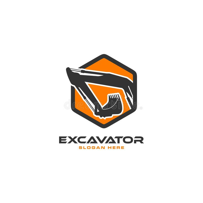 Excavator logo. Logo excavator for real estate company, construction and building royalty free illustration