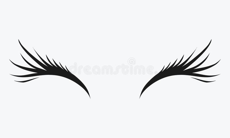 Logo of eyelashes. Stylized hair. Abstract lines of triangular shape. Black and white vector illustration. royalty free illustration