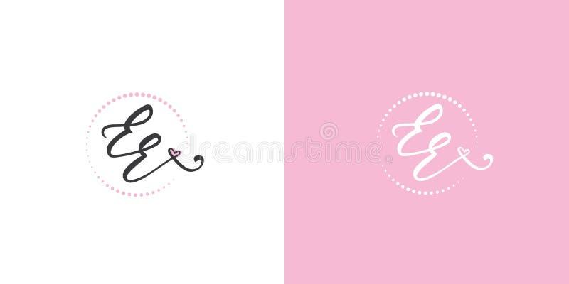 Logo féminin manuscrit de monogramme de l'EE avec le coeur dans le rose doux illustration libre de droits