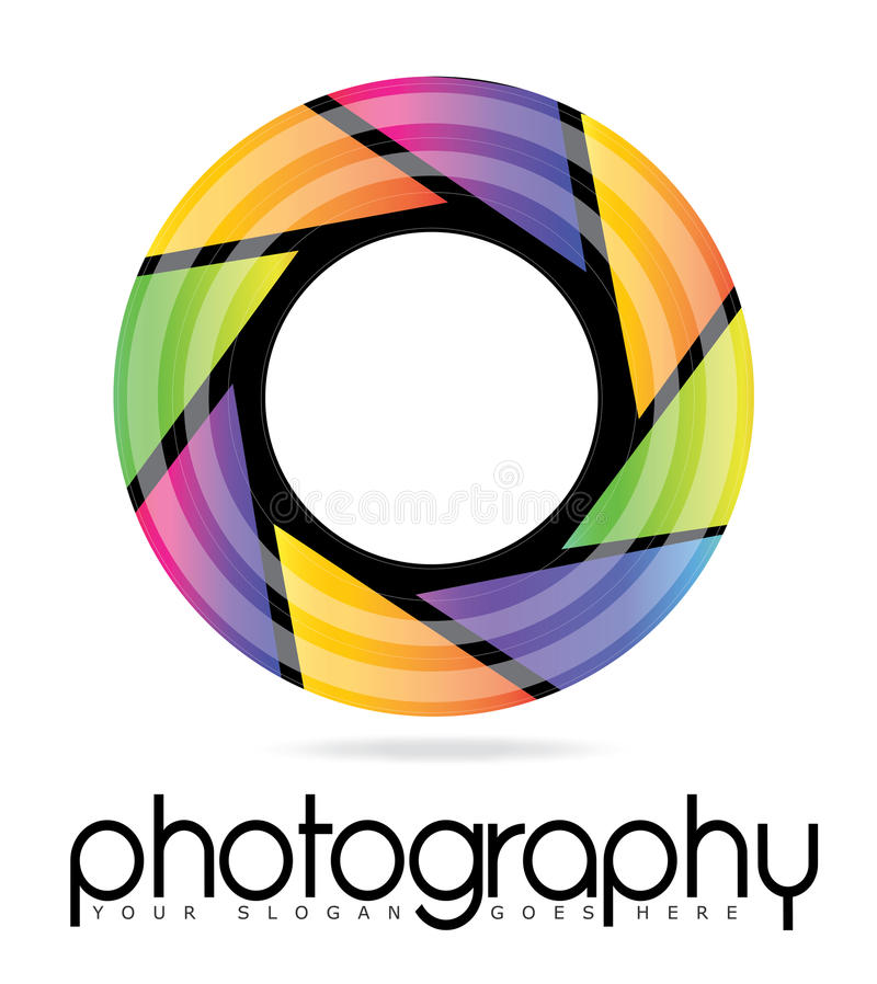 Logo för öppning för kameraLens fotografi stock illustrationer