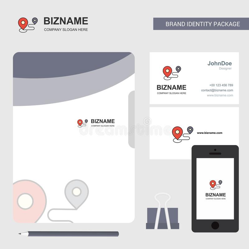 Logo för översiktsruttaffär, visitkort för mappräkning och mobil Appdesign också vektor för coreldrawillustration royaltyfri illustrationer