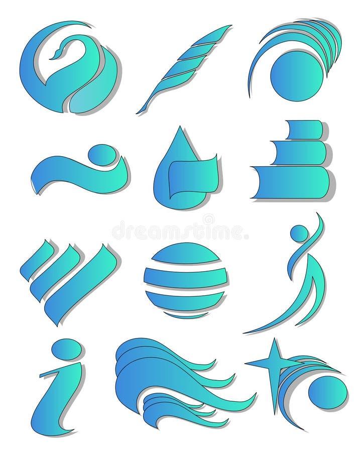 logo för 01 element stock illustrationer