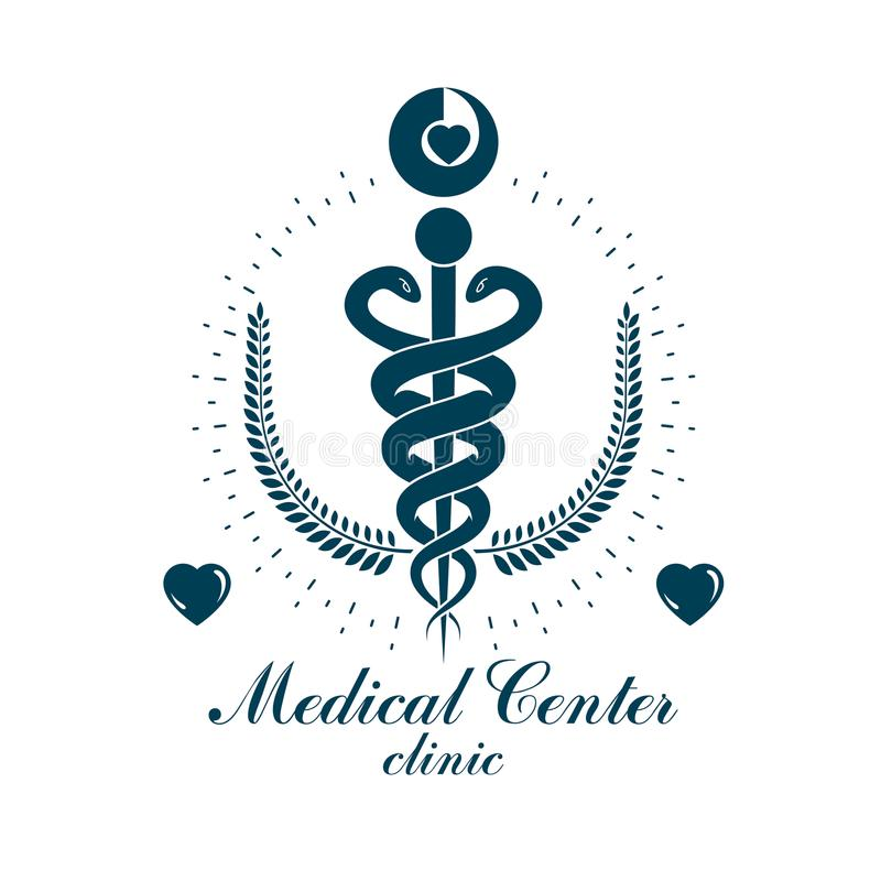Logo för affär för Aesculapius vektorabstrakt begrepp för bruk i medicinsk tre stock illustrationer