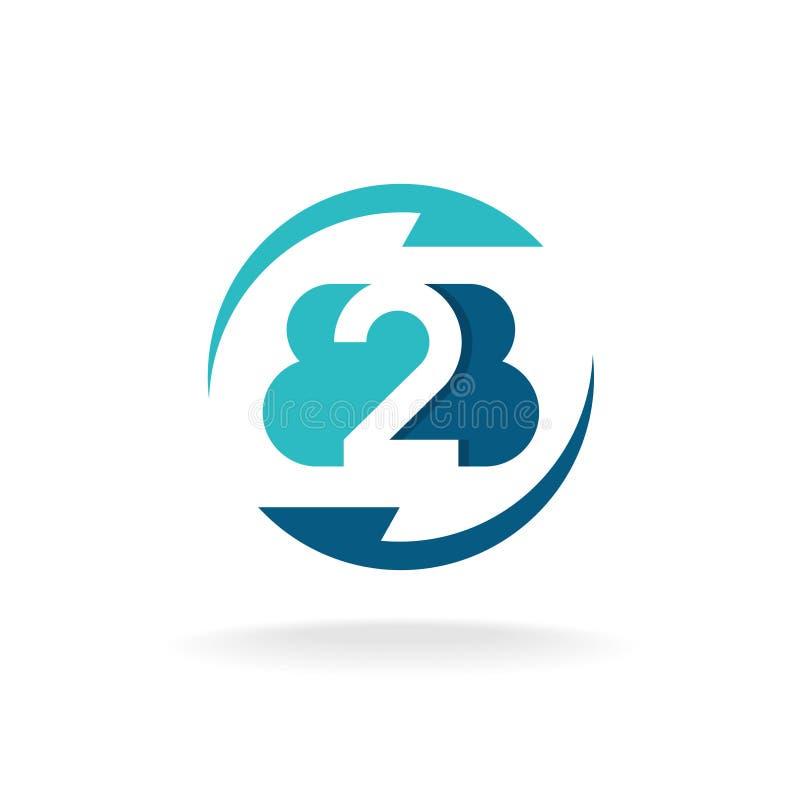 Logo för affär för lägenhet för B2B bokstavsrunda med pilar stock illustrationer