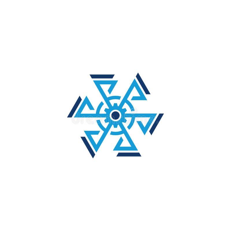 Logo för affär för sexhörningskugghjulpil royaltyfri illustrationer