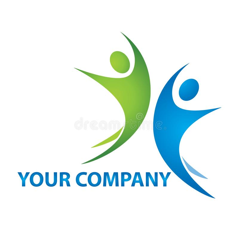 Logo för affärsfolk Anslutning mänskliga lyckliga två personer vektor illustrationer