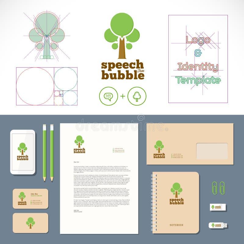 Logo för anförandebubblaträd och identitetsmall royaltyfri illustrationer