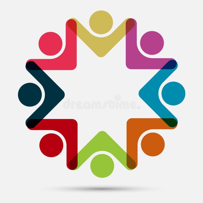 Logo för anslutning för grupp för vektordiagram Åtta personer i cirkeln logolagarbete vektor illustrationer
