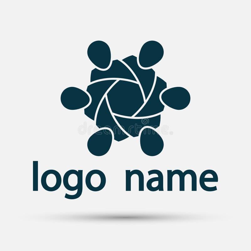 Logo för anslutning för grupp för vektordiagram Folk i cirkeln logolagarbete vektor illustrationer