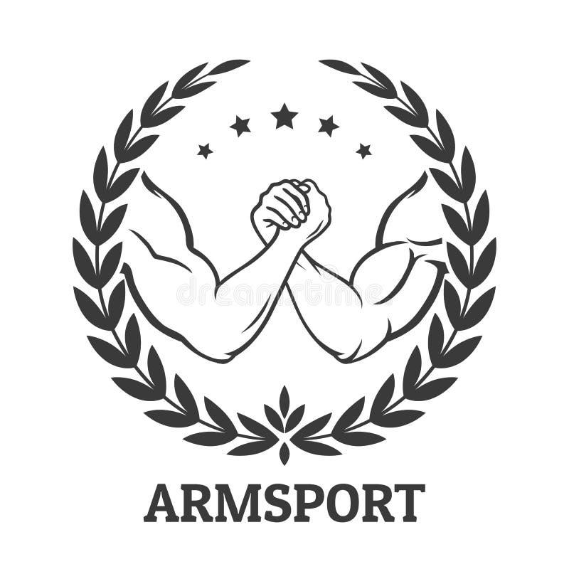 Logo för armbrottning royaltyfri illustrationer