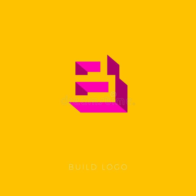 Logo för ask för b-monogram B Byggandelogo som tegelstenar Byggnads- eller konstruktionslogo stock illustrationer