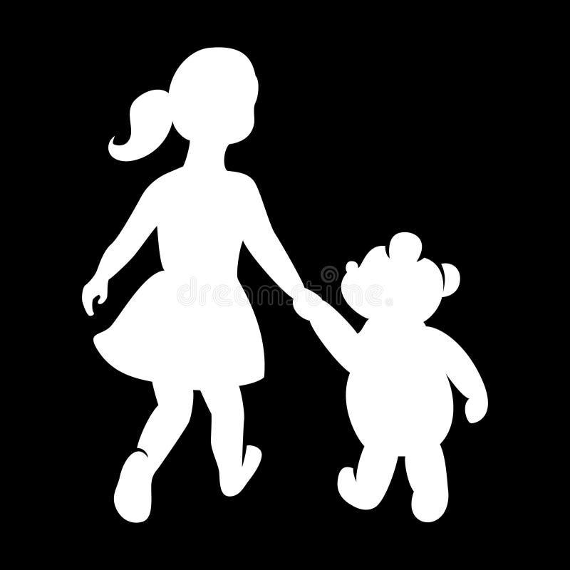 Logo för barn` s, flicka med en björn som rymmer händer vektor illustrationer