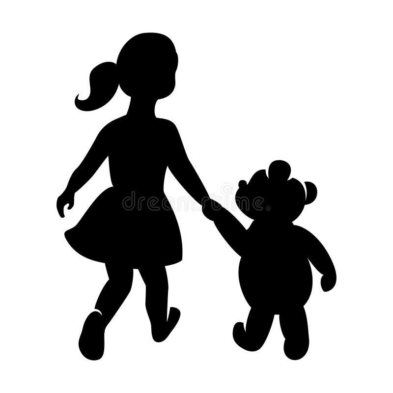 Logo för barn` s, flicka med en björn som rymmer händer stock illustrationer