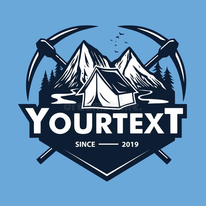 Logo för bergaffärsföretag som campar, is som klättrar expedition Tappningvektorlogo och etiketter, illustration för symbolsmalld vektor illustrationer
