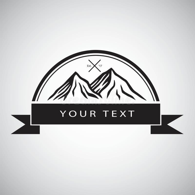 Logo för bergaffärsföretag som campar, lägereld, design för mall för tappningillustrationvektor vektor illustrationer