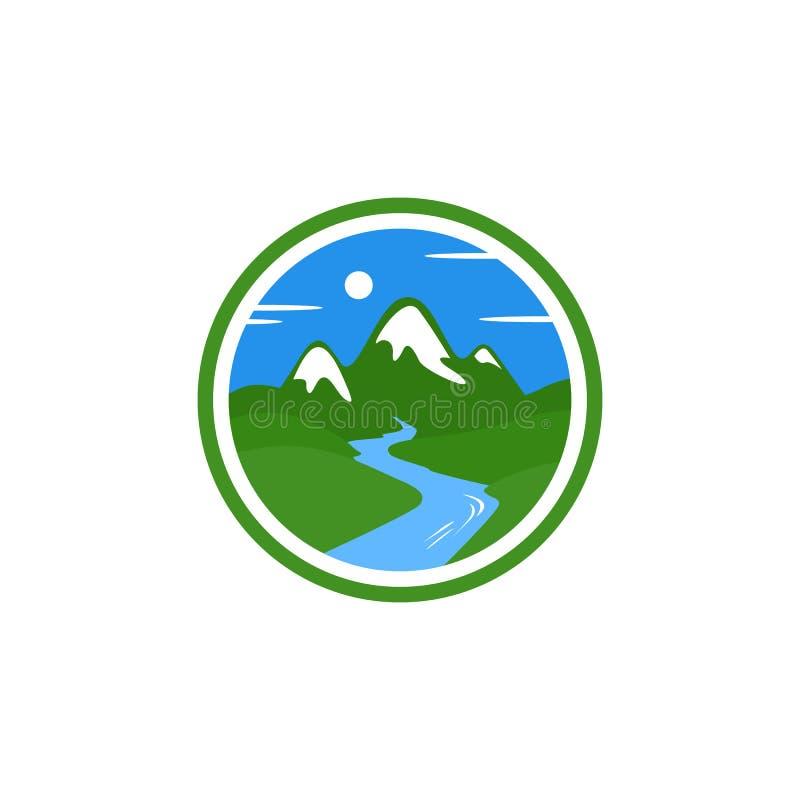 Logo för bergflodvektor vektor illustrationer
