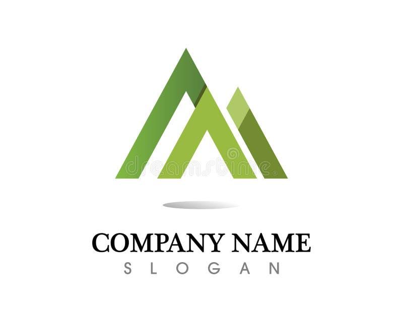 Logo för bergnaturlandskap och symbolsymbolsmall royaltyfri foto