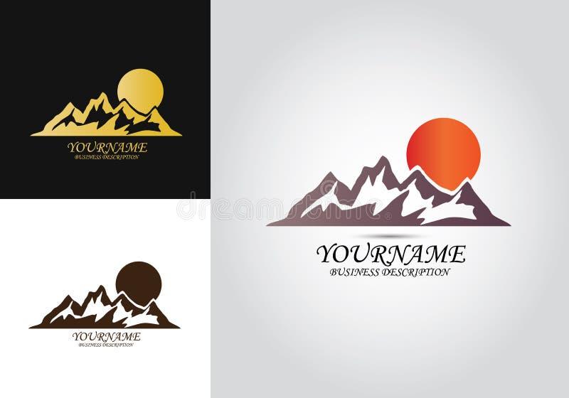 Logo för bergsoldesign royaltyfri illustrationer