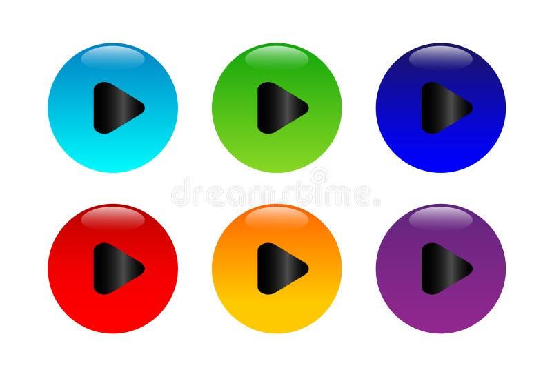 Logo för beståndsdel för tecken för lekknappsymbol fastställd med skugga i flerfärgat på vit bakgrund stock illustrationer