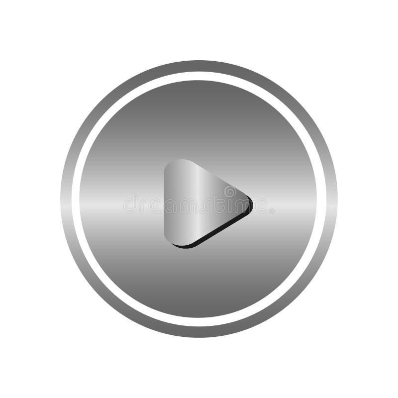 Logo för beståndsdel för tecken för lekknappsymbol med skugga i grå färg för metallstål på vit bakgrund stock illustrationer