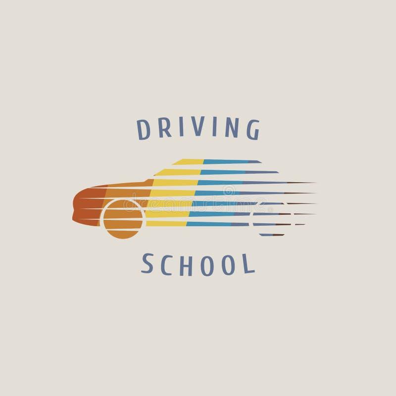 Logo för bilkörskolavektor, tecken, emblem vektor illustrationer