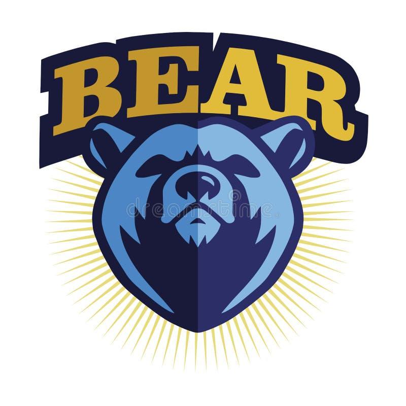 Logo för björnhuvudmaskot - vektor royaltyfri illustrationer