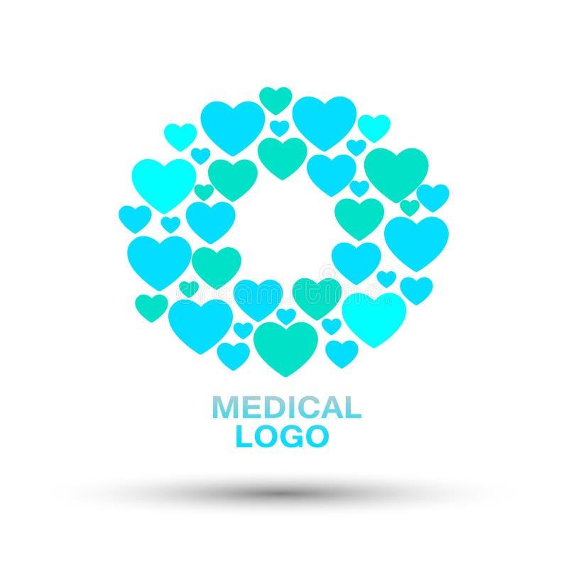 Logo för blå och grön färg för isolerad abstrakt hjärtaform för läkarundersökning-/medicine/hälsovårdbegrepp på den vita bakgrund royaltyfri illustrationer