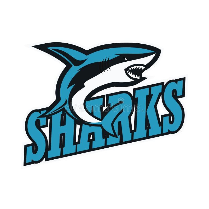 Logo för blåa hajar med textutrymme för din slogan/etikettslinje vektor illustrationer