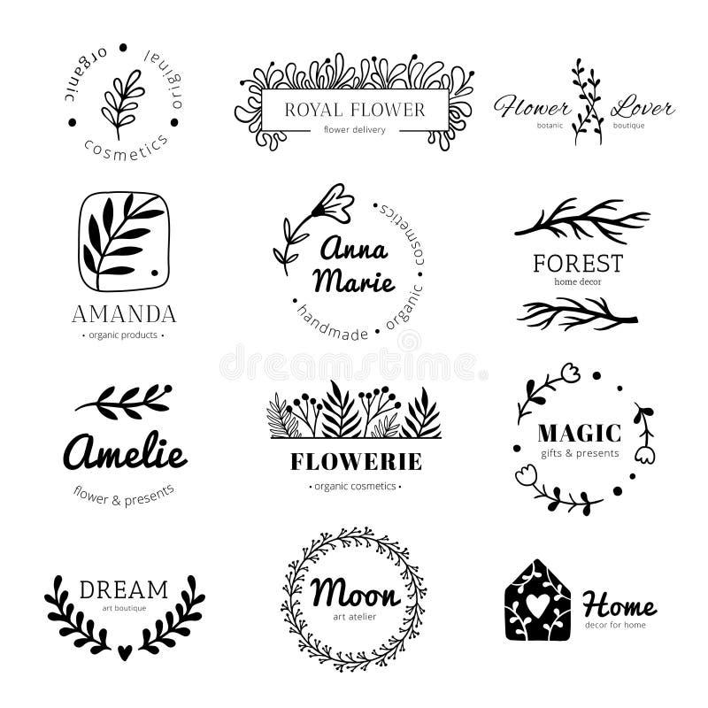 Logo för blom- prydnad Lager lämnar kransramen, etikett för klotterblommablad, och tappningblommor smyckar isolerade emblem vektor illustrationer