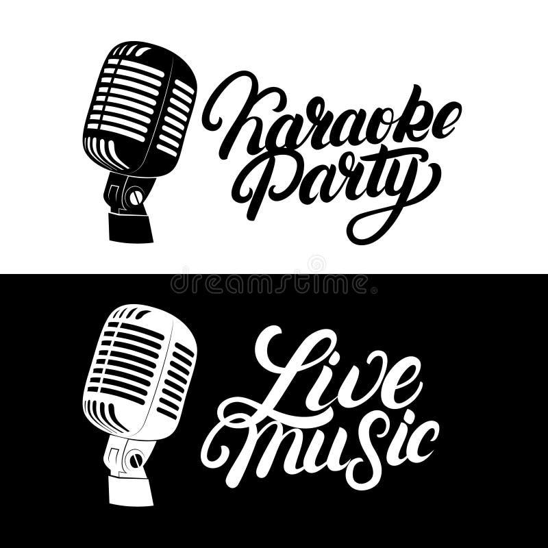 Logo för bokstäver för karaokehand skriftlig, emblem med den retro tappningmikrofonen royaltyfri illustrationer