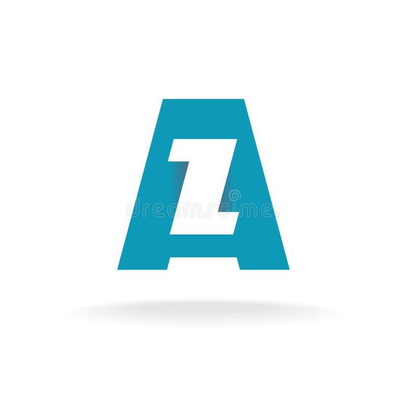 Logo för bokstäver A och z- stock illustrationer