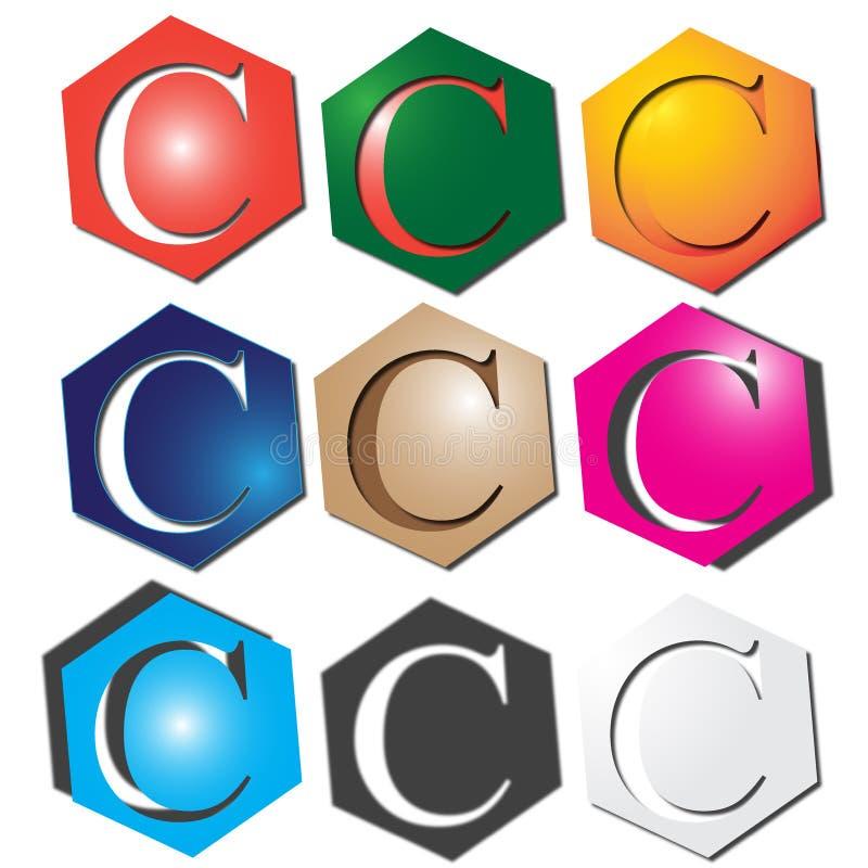 Logo för bokstav C stock illustrationer