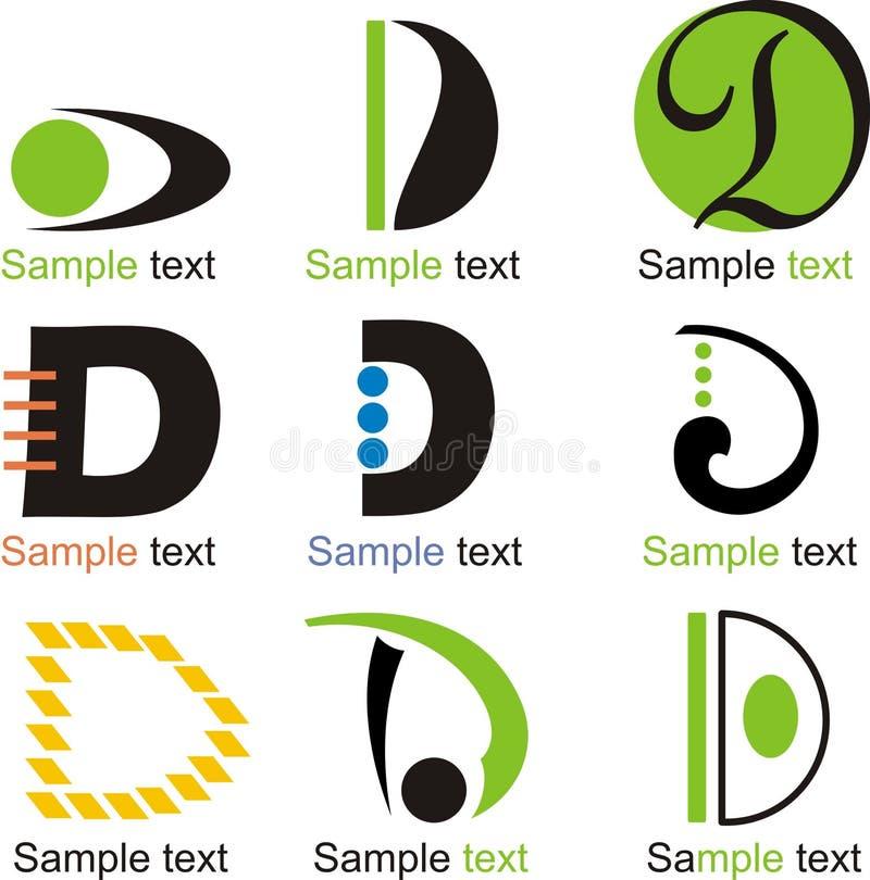 Logo för bokstav D vektor illustrationer