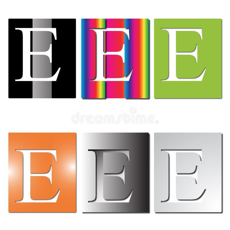 Logo för bokstav E vektor illustrationer