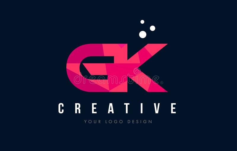 Logo för bokstav för GK-G K med purpurfärgat lågt Poly rosa triangelbegrepp royaltyfri illustrationer