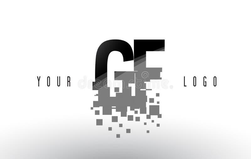 Logo för bokstav för PIXEL för GF-G F med Digital splittrade svarta fyrkanter vektor illustrationer