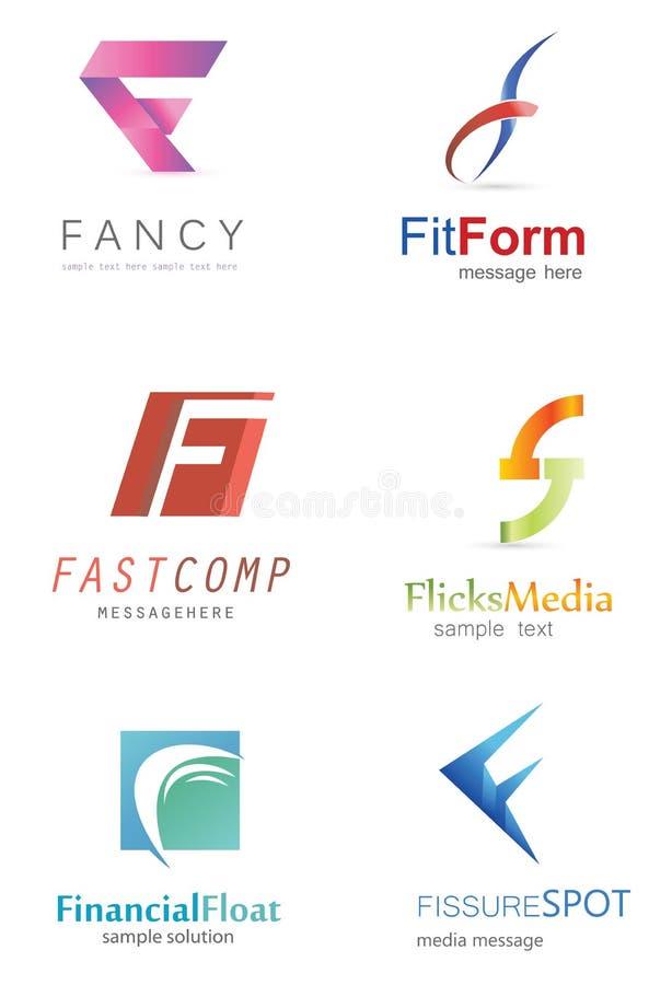 Logo för bokstav F vektor illustrationer