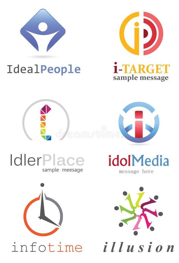 Logo för bokstav I vektor illustrationer