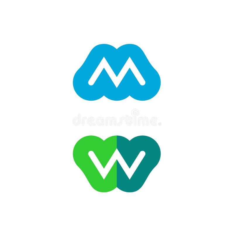 Logo för bokstav M och W- royaltyfri illustrationer