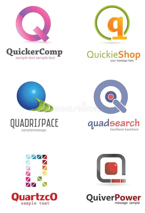 Logo för bokstav Q stock illustrationer